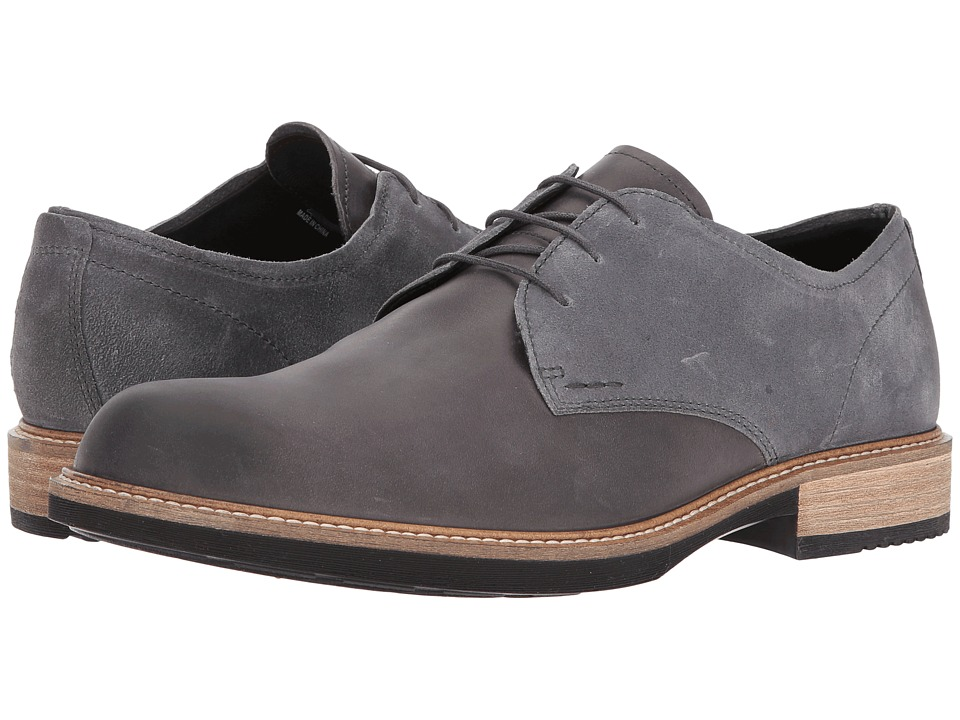 ECCO - Kenton Plain Toe Tie (Moonless/Moonless) Men's Plain Toe Shoes