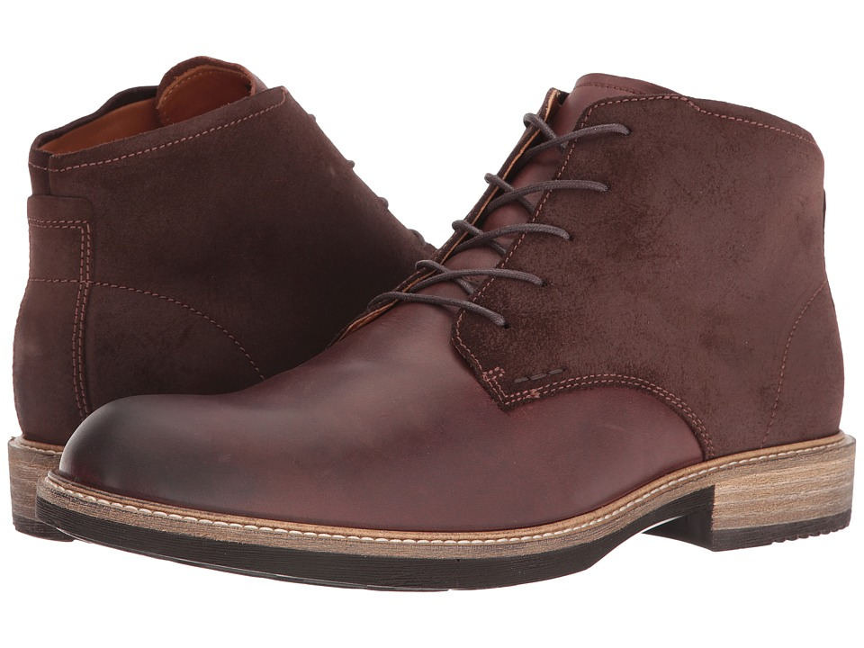 ECCO - Kenton Plain Toe Boot (Mink/Mocha) Men's Dress Lace-up Boots