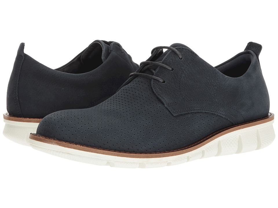 ECCO - Jeremy Perforated Tie (Navy) Men's Lace up casual Shoes