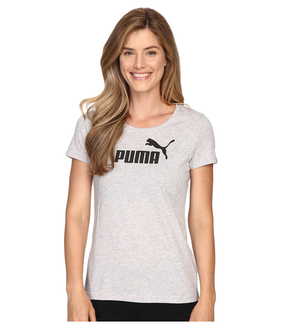 PUMA - ESS Large Logo Tee (Light Gray Heather) Women's T Shirt