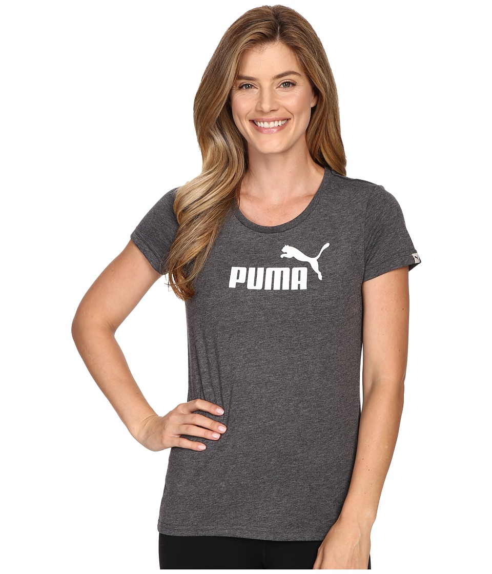 PUMA - ESS Large Logo Tee (Black Heather) Women's T Shirt