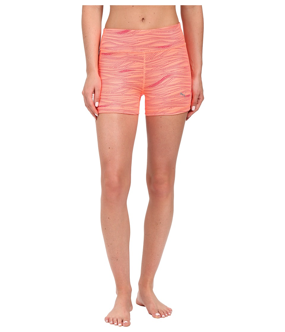 PUMA - Essential Graphic Short Tights (Fluro Peach/Rose Red) Women's Shorts