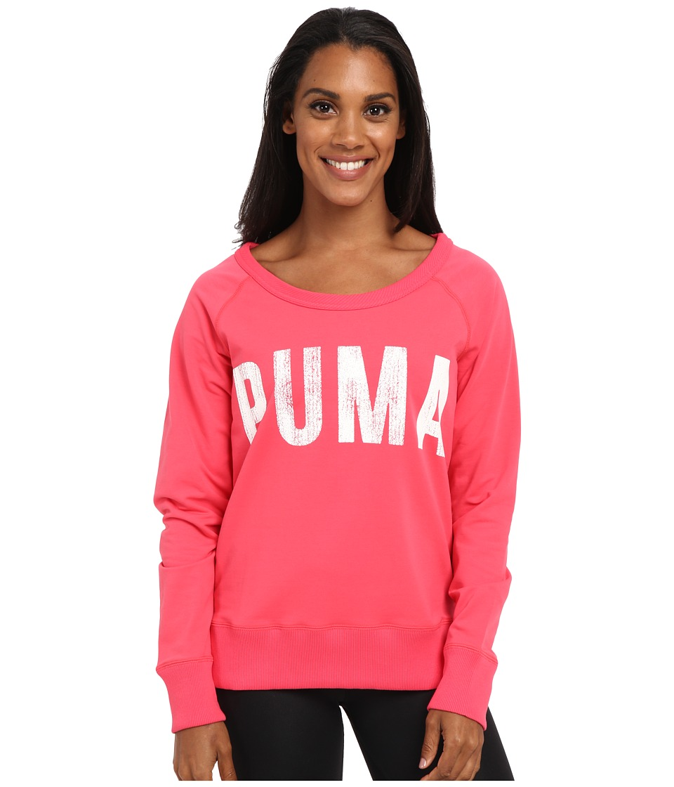 PUMA - Sweat Crew Top (Geranium/White) Women's Long Sleeve Pullover