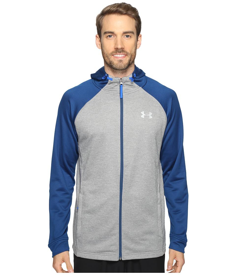 Under Armour - Tech Terry Full Zip (True Gray Heather/Blackout Navy/Silver) Men's Sweatshirt