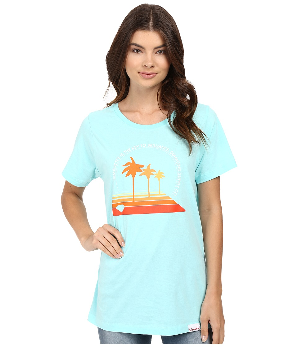 Diamond Supply Co. - Palm Vibes Boyfriend Tee (Diamond Blue) Women's T Shirt