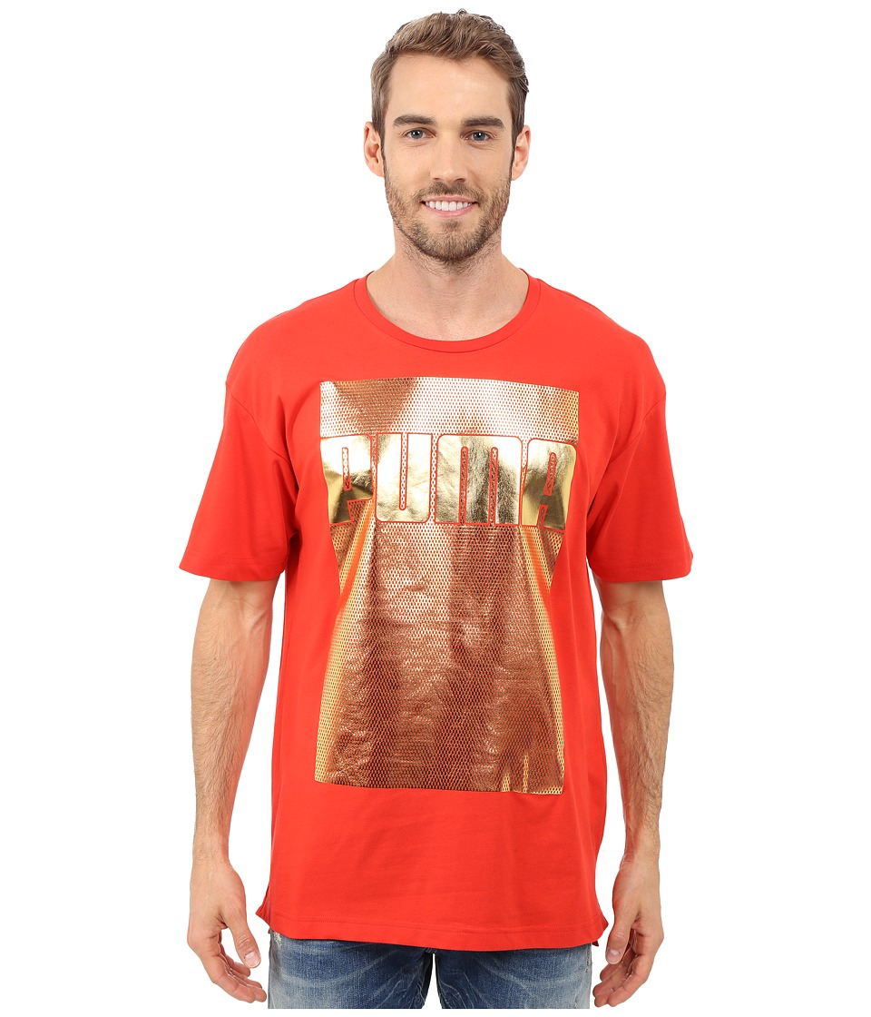 PUMA - Evo Longer Line Logo T-Shirt (Puma Red) Men's T Shirt
