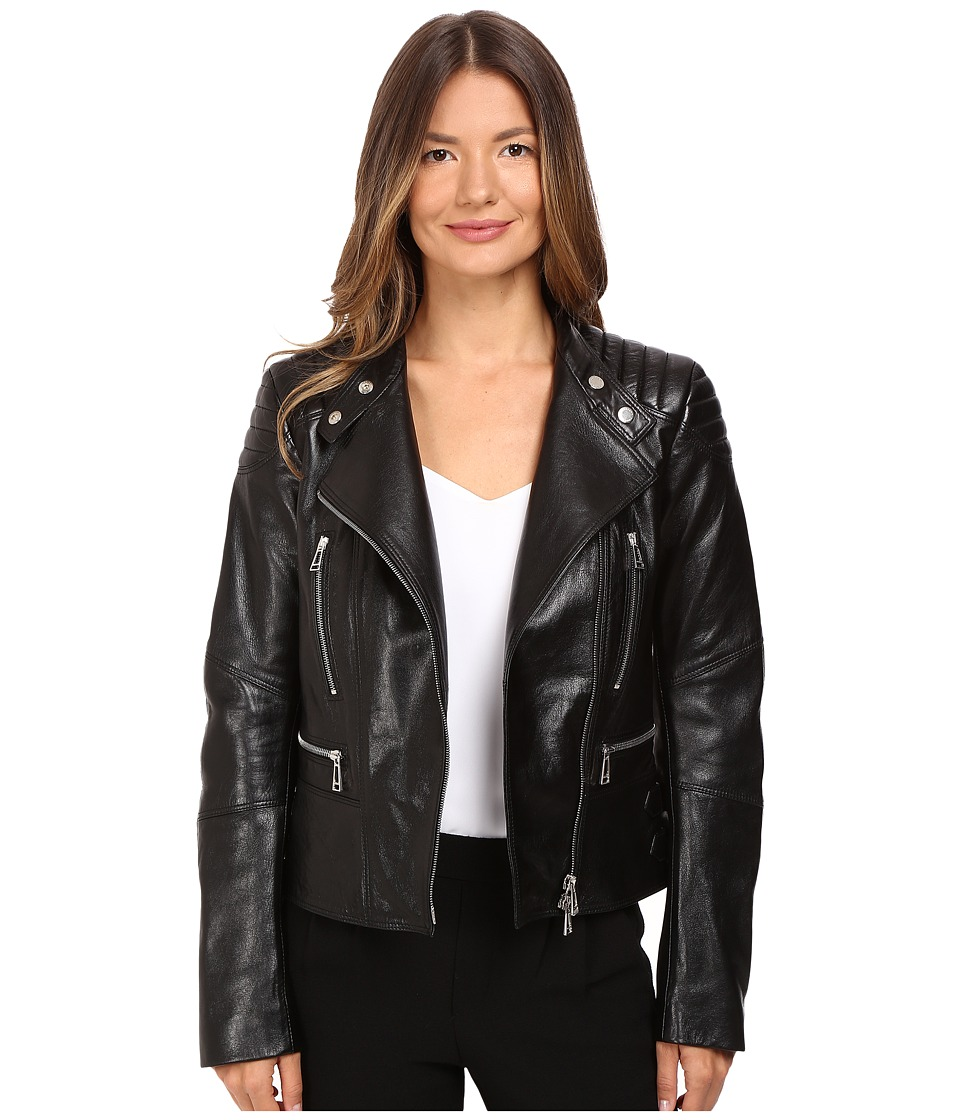 BELSTAFF - Sidney Nappa Satin Leather Jacket (Black) Women's Coat