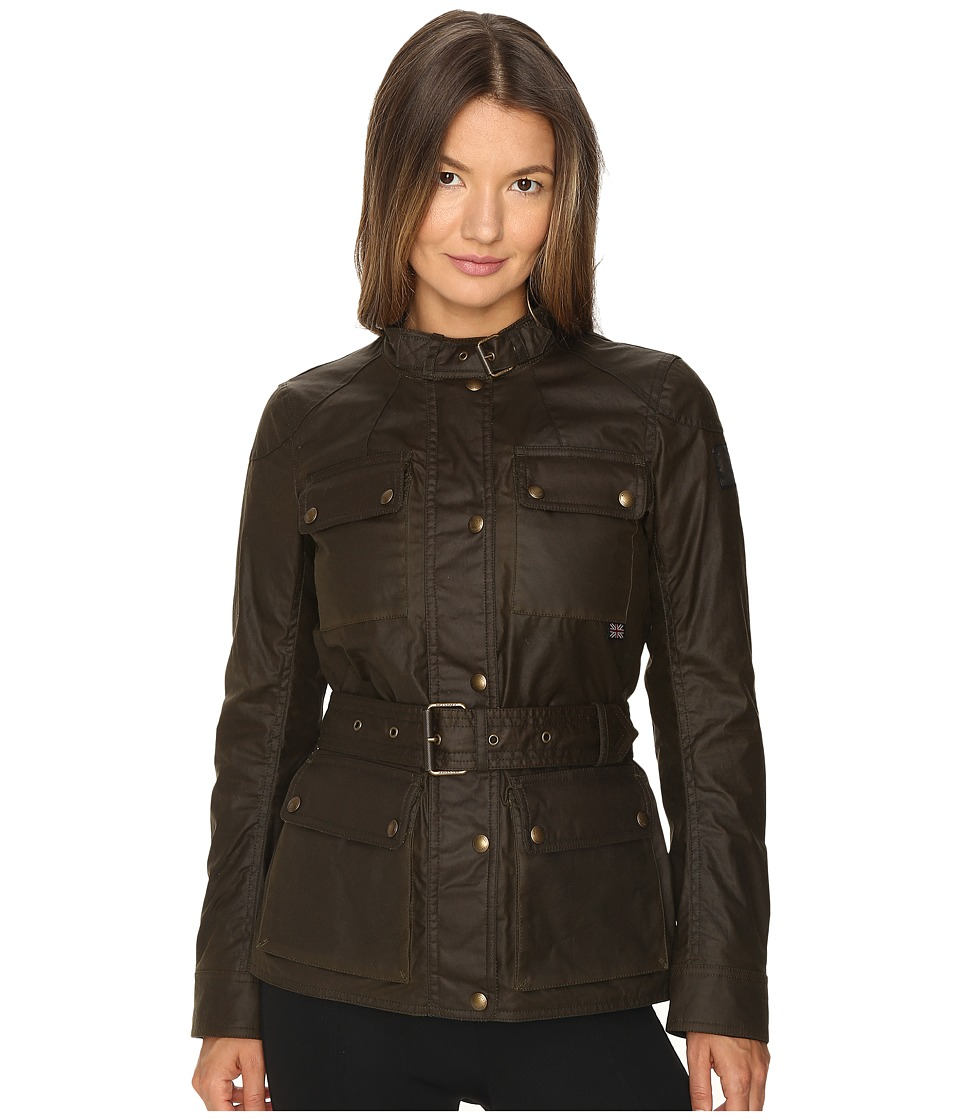 BELSTAFF - Roadmaster 2.0 Signature 6 oz. Wax Cotton Jacket (Faded Olive) Women's Coat