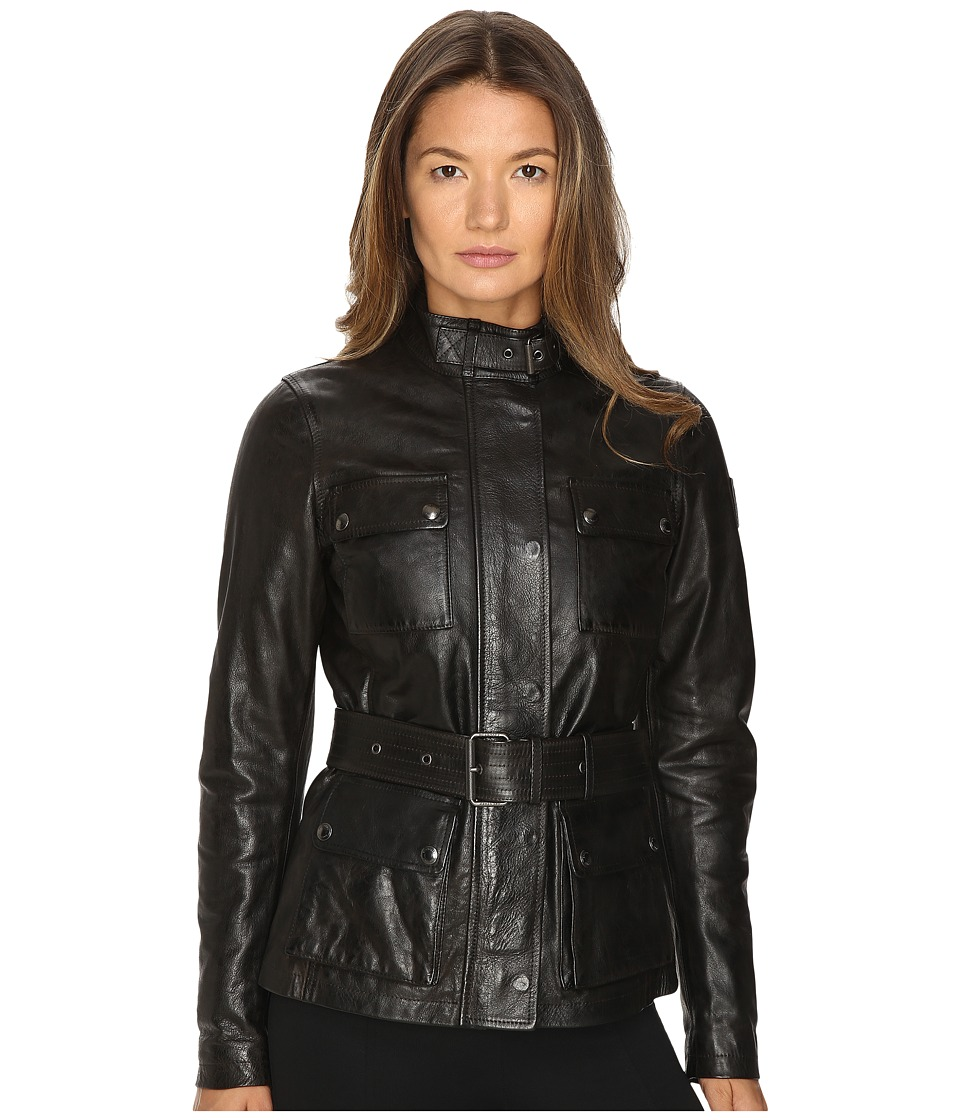 BELSTAFF - Triumph 2.0 Signature Hand Waxed Leather Jacket (Black) Women's Coat