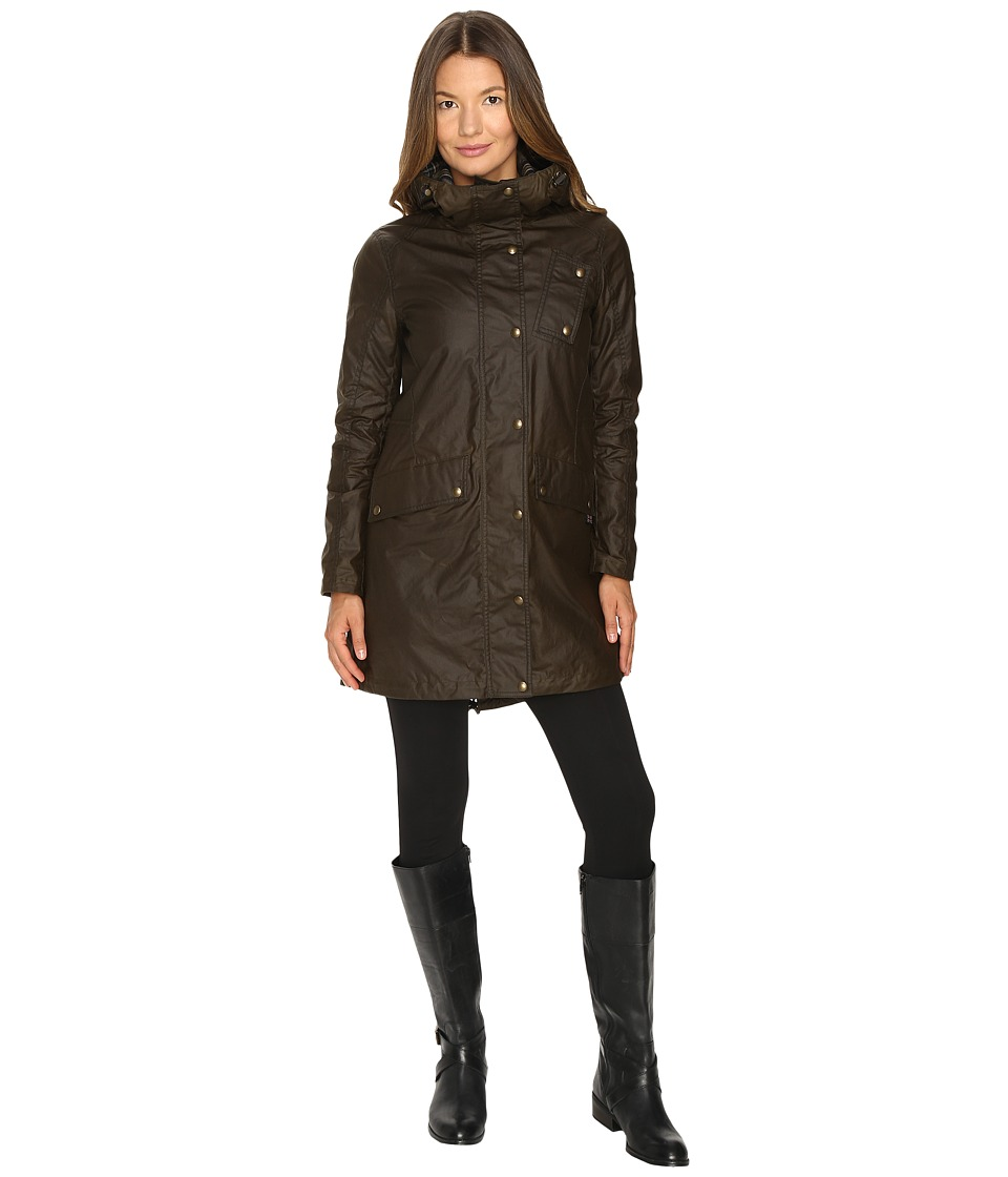 BELSTAFF - Payne Signature 6 oz. Wax Cotton Coat (Faded Olive) Women's Coat