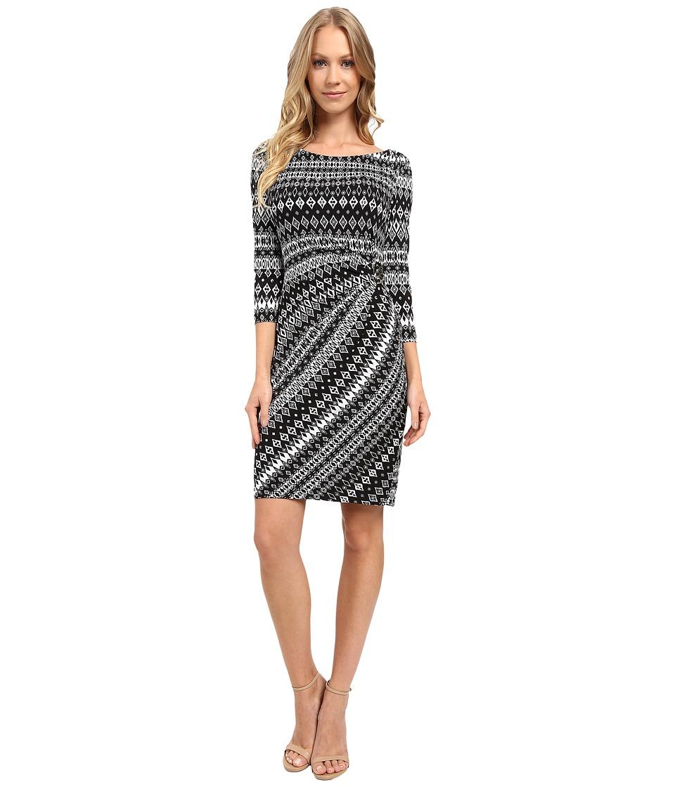 Tahari by ASL Faux-Wrap 3/4 Sleeve Printed Jersey Dress (White/Black) Women