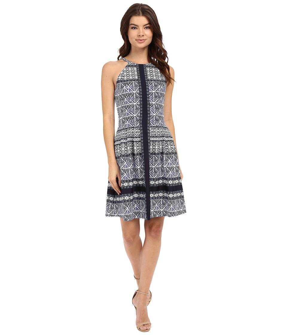 Vince Camuto - Printed Scuba Halter Fit and Flare with Release Pleats (Bahama Blue) Women's Dress