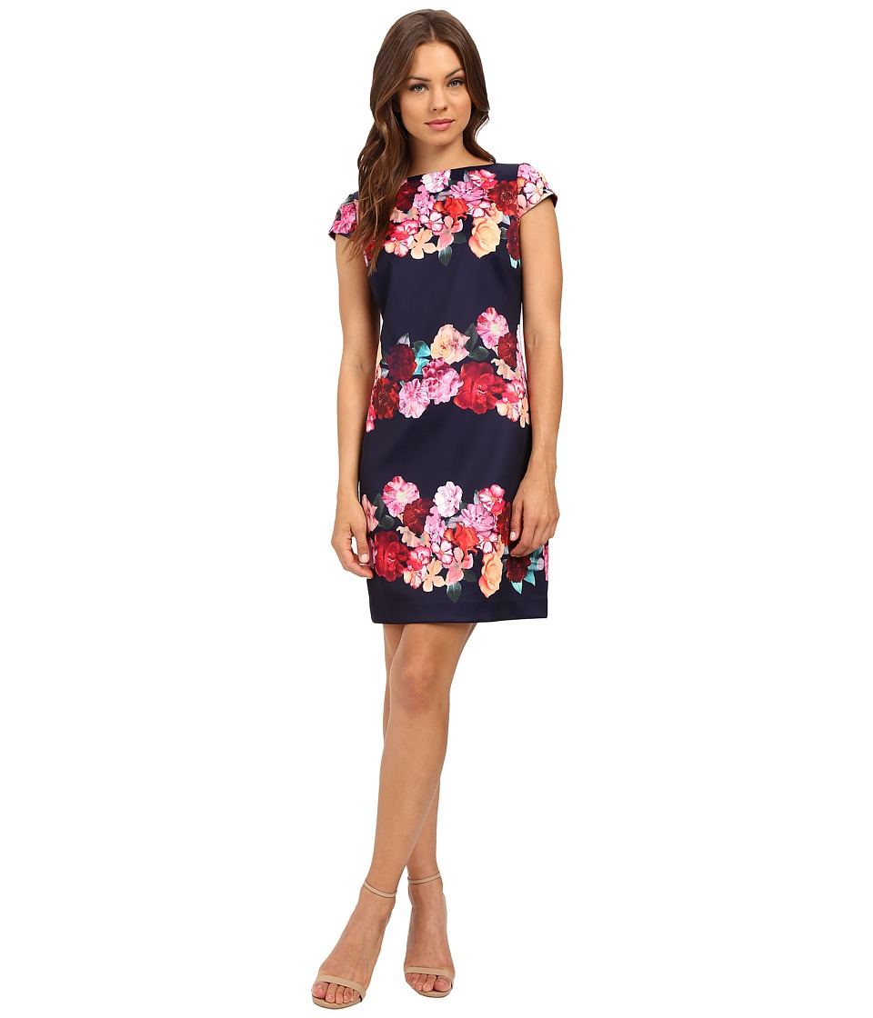Vince Camuto - Printed Scuba Cap Sleeve Shift (Navy) Women's Dress