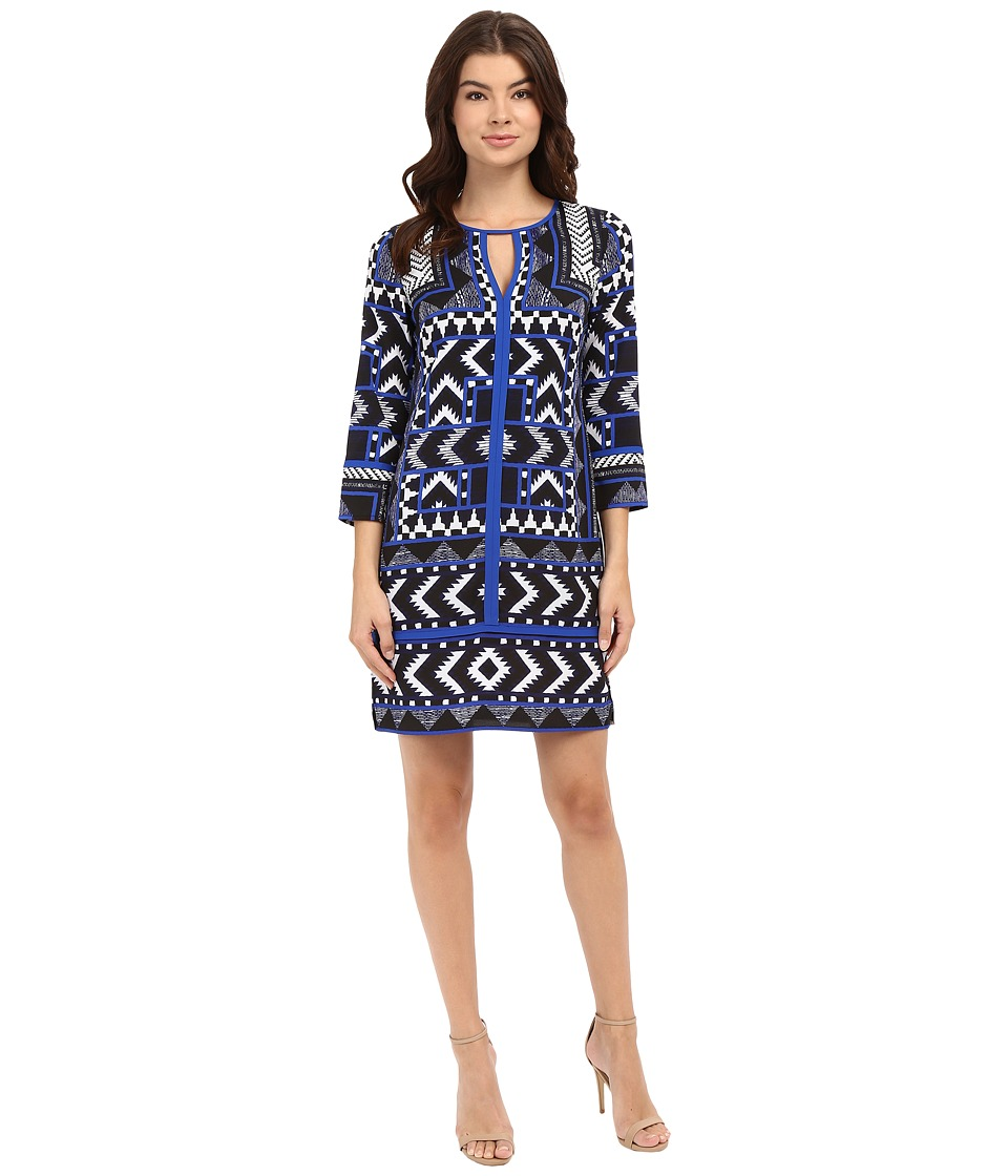Vince Camuto - Printed CDC T-Body with 3/4 Length Sleeves and Combo Binding (Blue) Women's Dress