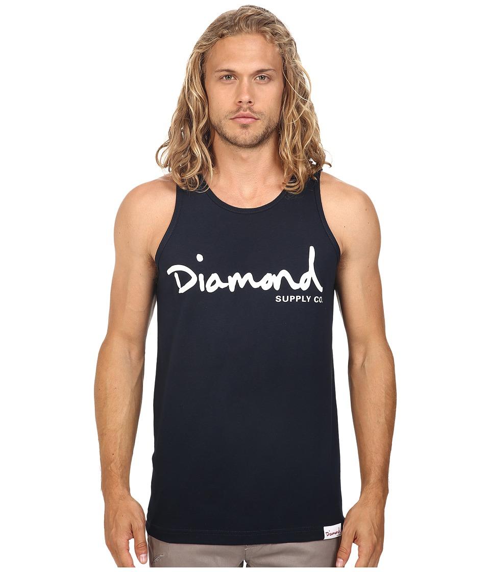 Diamond Supply Co. - OG Script Tank Top (Navy) Men's Sleeveless