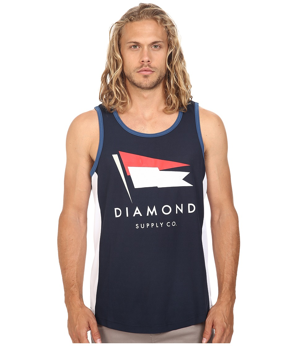 Diamond Supply Co. - Yacht Color Block Tank Top (Navy/White) Men's Sleeveless