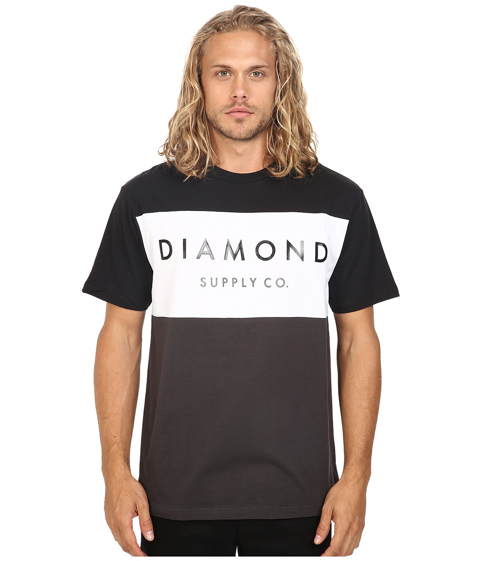 Diamond Supply Co. - Yacht Color Block Short Sleeve Tee (Black/White/Charcoal) Men's T Shirt