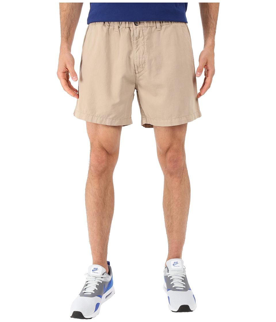 Vintage 1946 Snappers Vintage Washed Elastic Waistband Shorts (Khaki) Men
