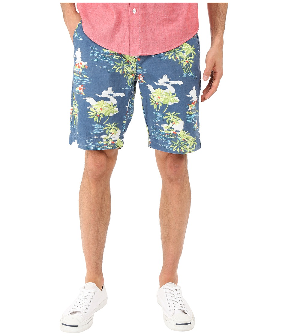 Vintage 1946 - Tropical Print Flat Front Shorts (Ocean) Men's Shorts