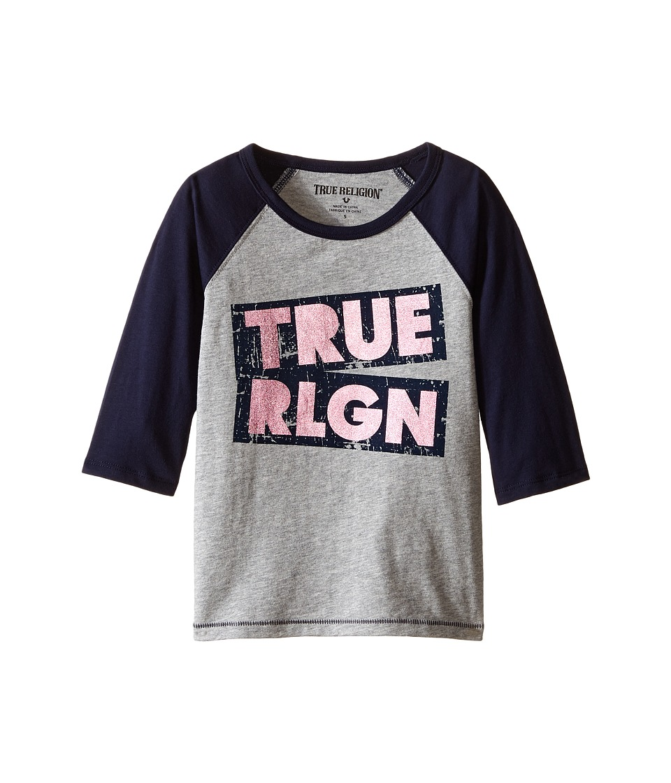 True Religion Kids - Long Sleeve Raglan Tee Shirt (Toddler/Little Kids) (Heather Gray) Girl's T Shirt