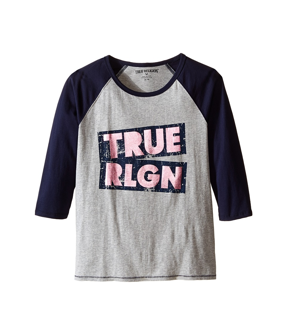 True Religion Kids Long Sleeve Raglan Tee Shirt (Little Kids/Big Kids) (Heather Gray) Girl