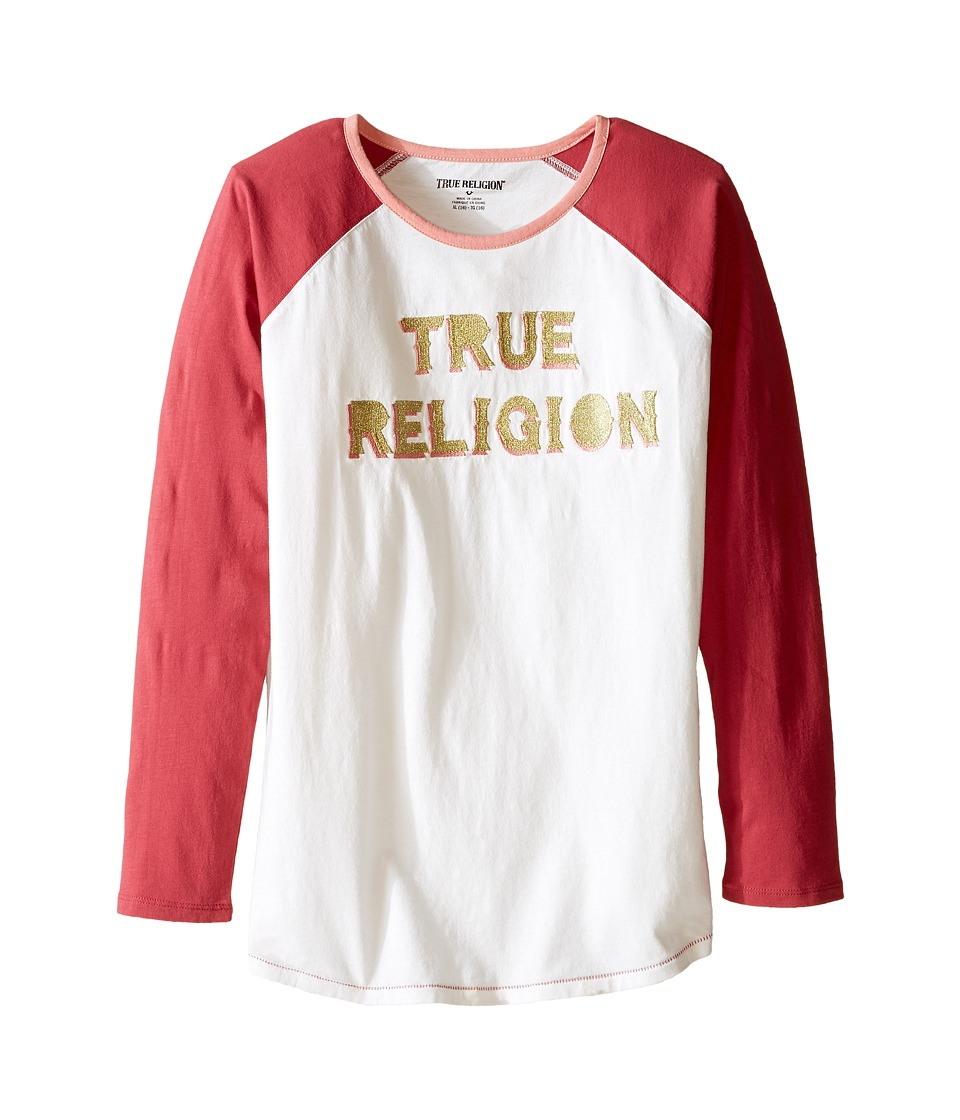 True Religion Kids - Long Sleeve Raglan Tee Shirt (Little Kids/Big Kids) (Moonshine) Girl's T Shirt