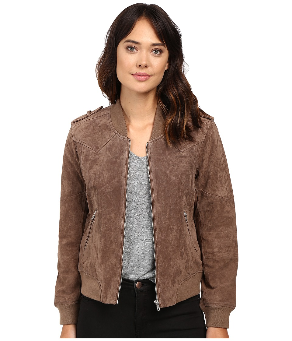 Blank NYC - Suede Bomber Jacket in Midnight Toker (Camel) Women's Coat