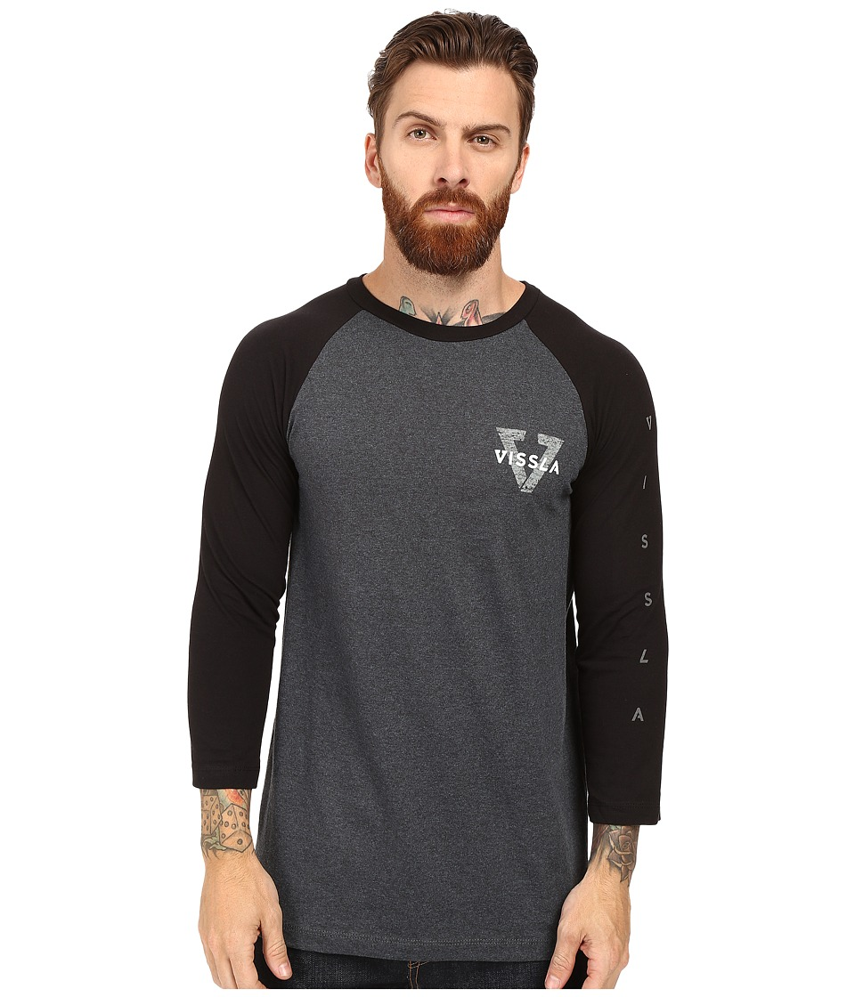 VISSLA - Reverse Raglan 3/4 Sleeve Heather Tee (Black) Men's T Shirt