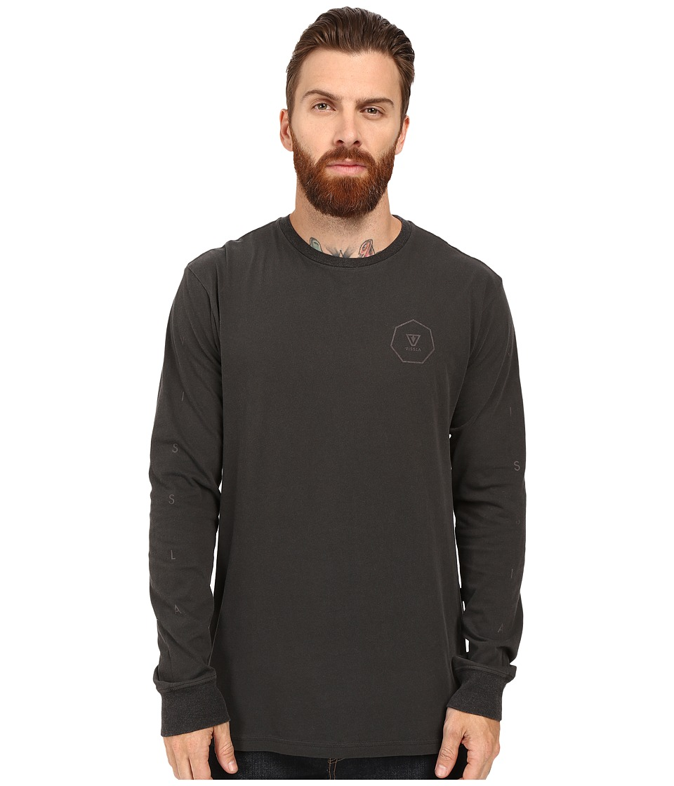 VISSLA - Forecast Pigment Dyed 30 Singles Long Sleeve Crew (Phantom) Men's Clothing