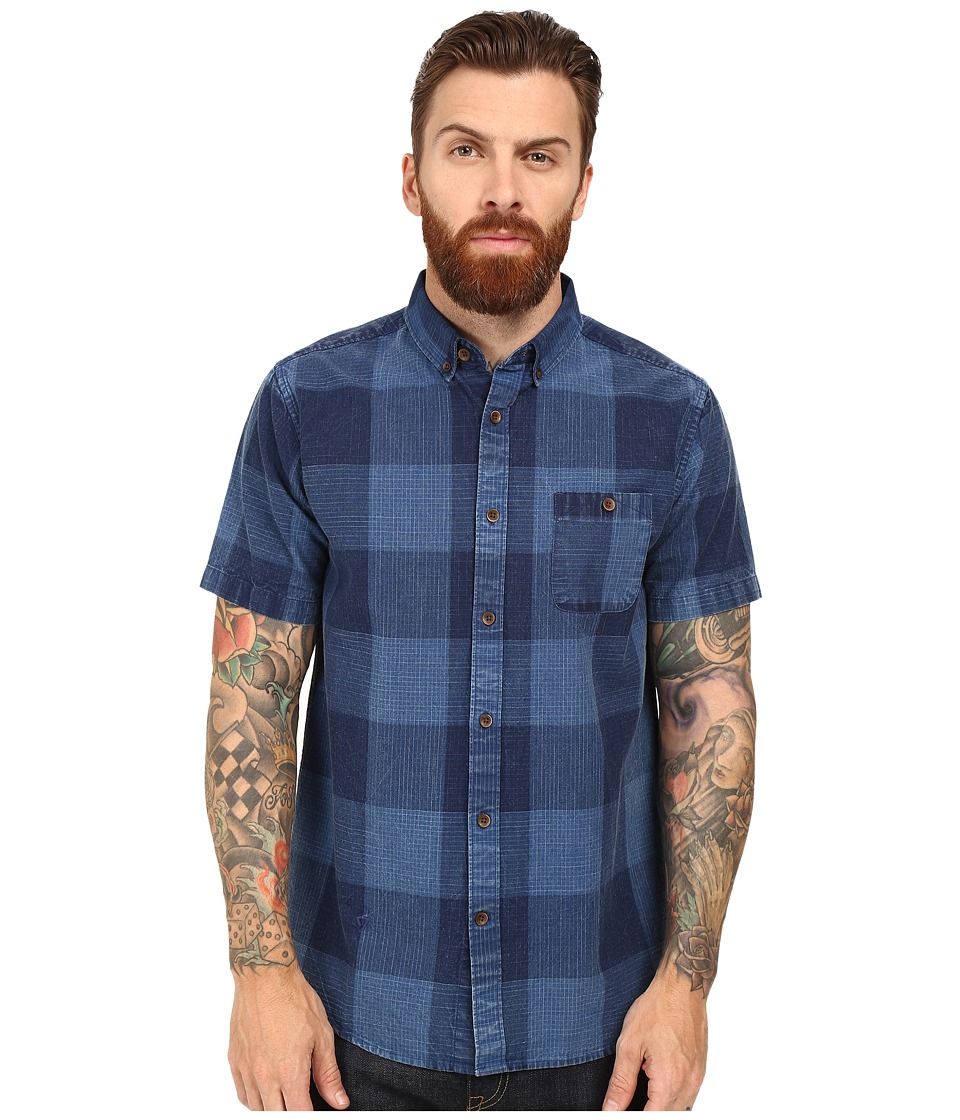 VISSLA - Black Light Short Sleeve Plaid Woven (Indigo) Men's Clothing