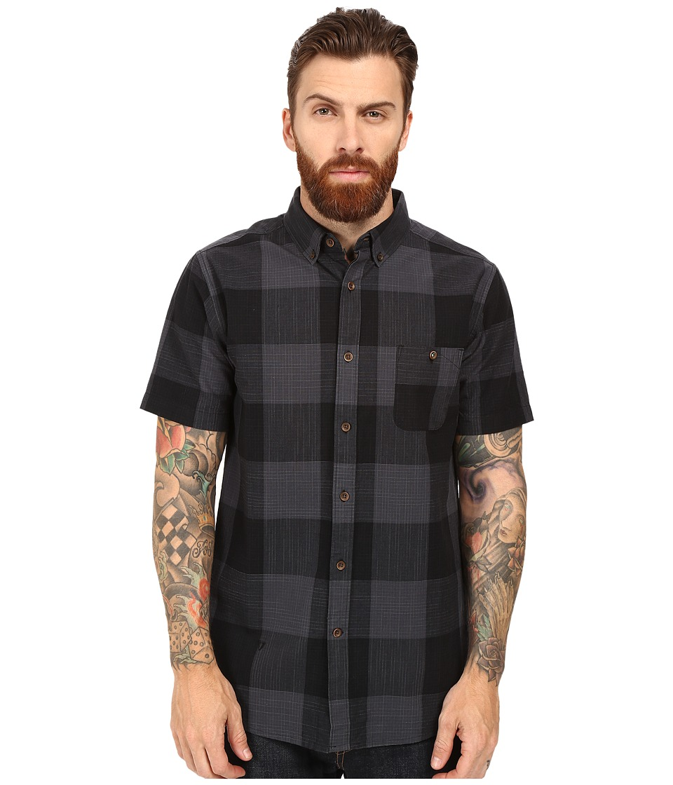 VISSLA - Black Light Short Sleeve Plaid Woven (Black) Men's Clothing