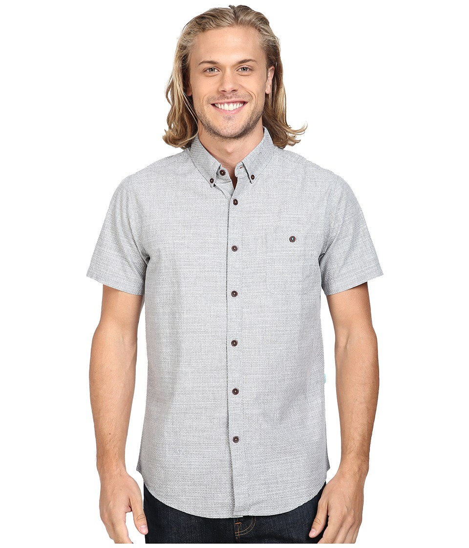 VISSLA - Spot Search Short Sleeve End on End Woven (Grey Heather) Men's Clothing