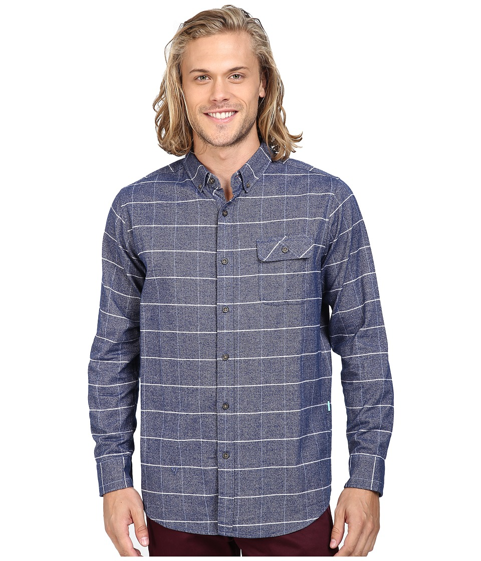 VISSLA - Carpenteria Long Sleeve Plaid Flannel (Strong Blue) Men's Clothing