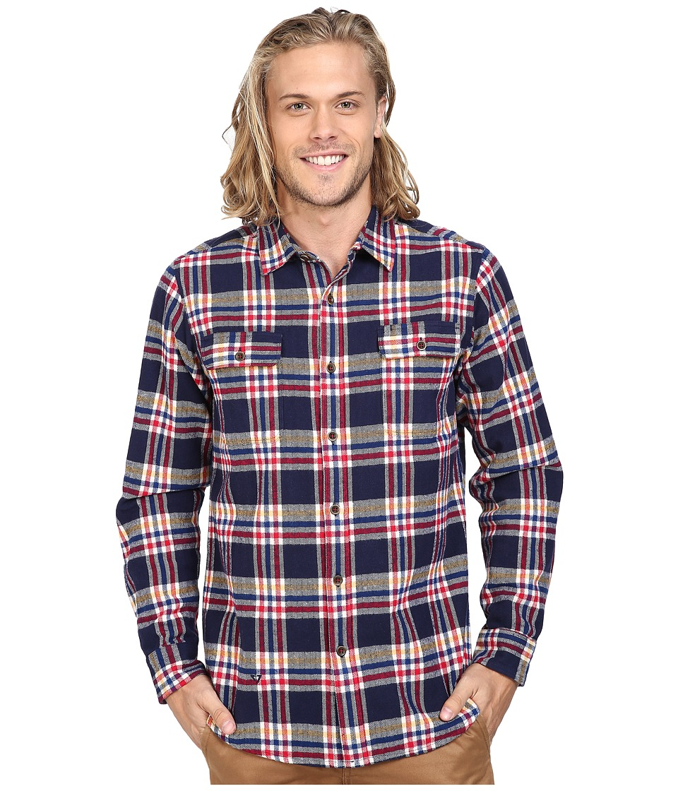 VISSLA - The Bluff Plaid Long Sleeve Heavy Weight Plaid Flannel (Dark Navy) Men's Clothing
