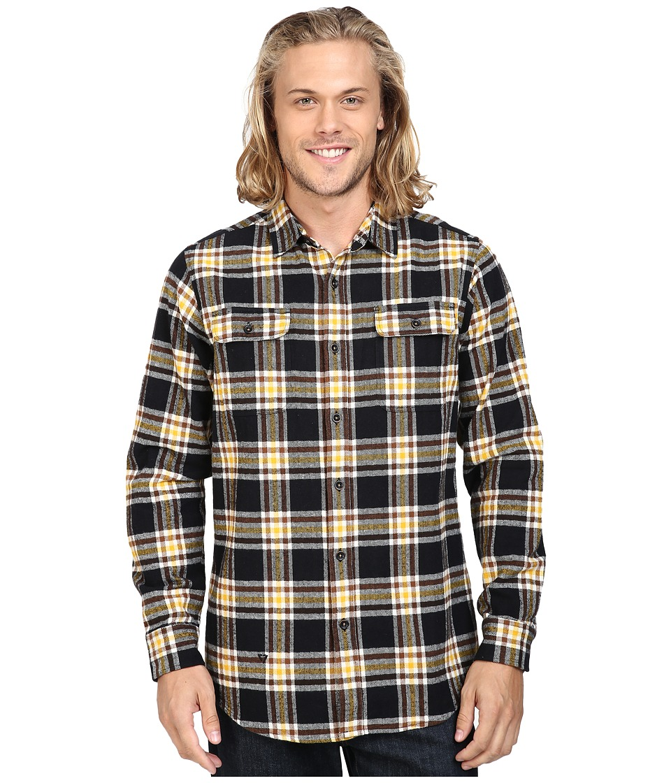 VISSLA - The Bluff Plaid Long Sleeve Heavy Weight Plaid Flannel (Black) Men's Clothing
