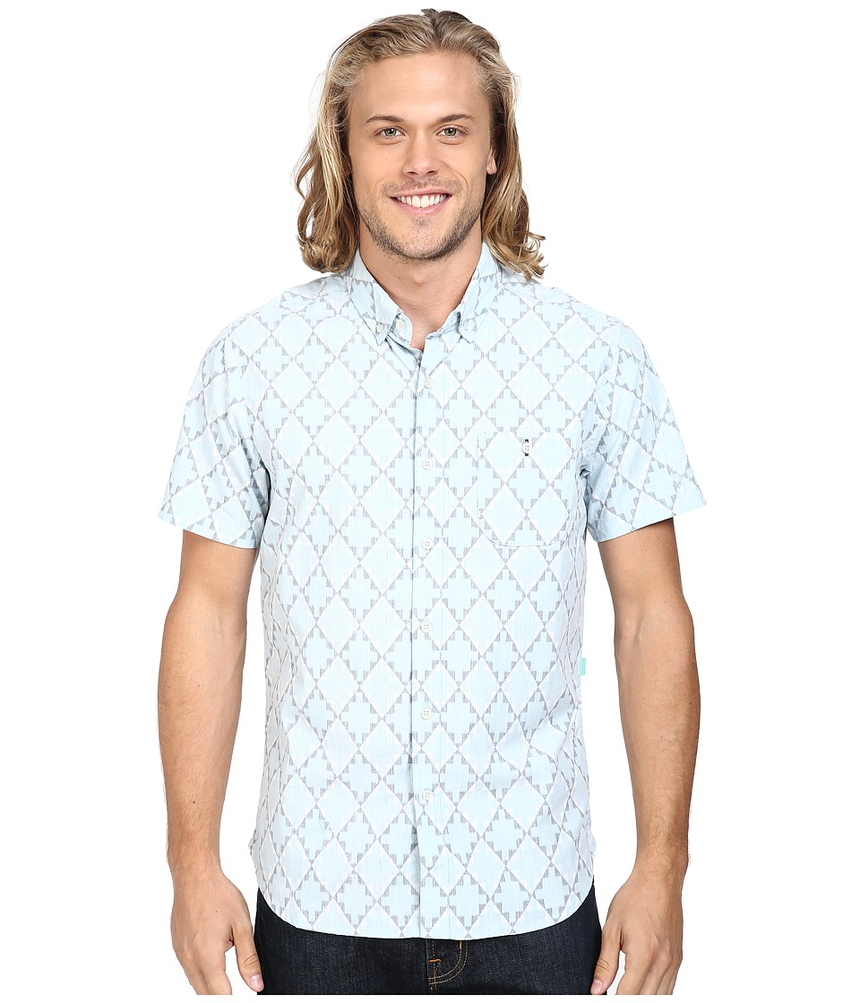 VISSLA - Destination Unknown Short Sleeve Printed Woven (Ice Blue) Men's Clothing