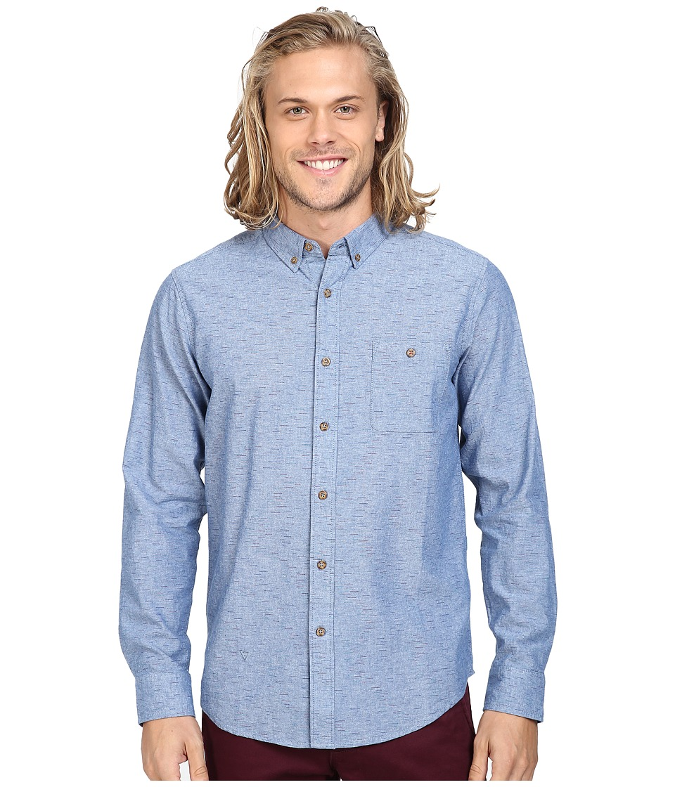 VISSLA - Playa Negra Long Sleeve Space Dye Woven (Navy) Men's Clothing
