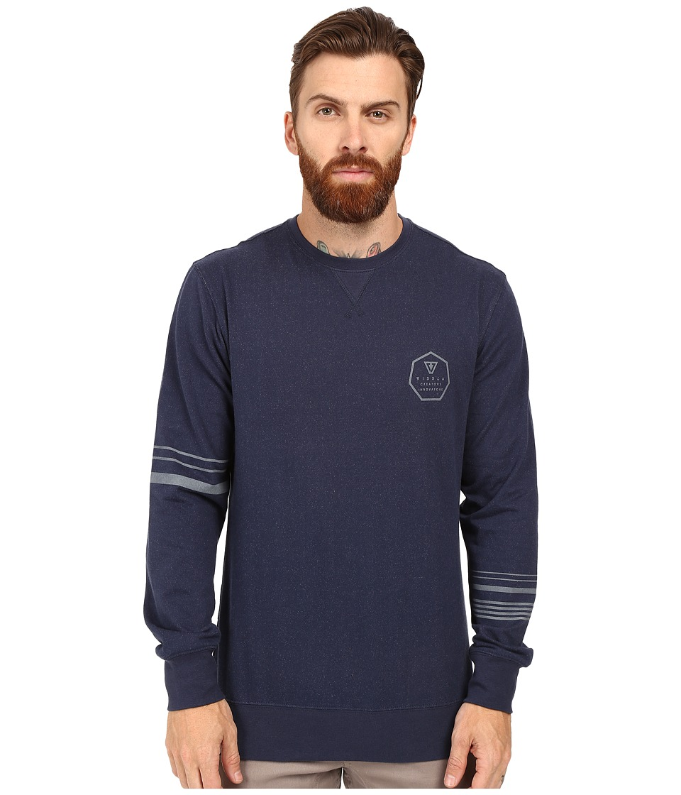VISSLA - Right Point Fleece Crew (Navy) Men's Clothing