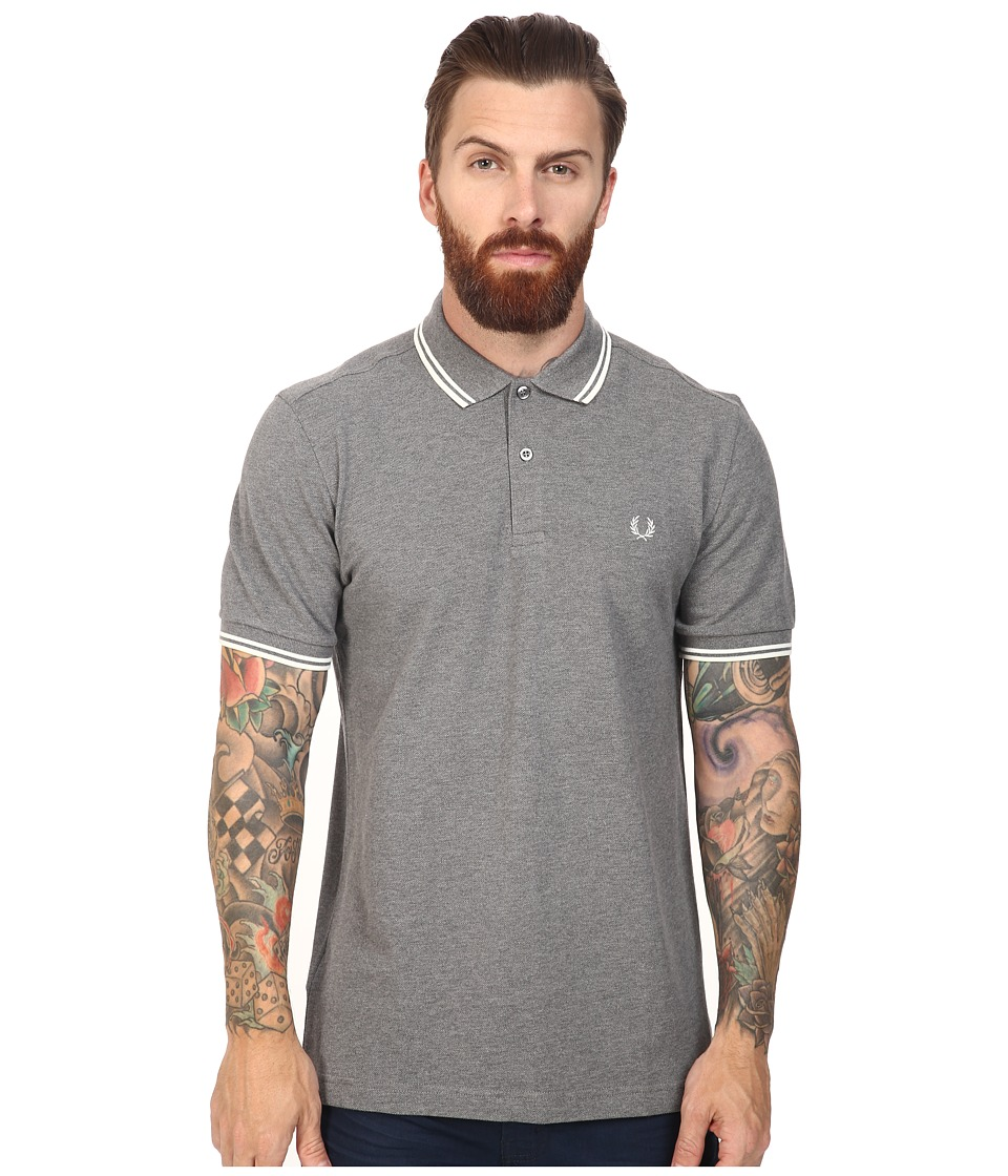 Fred Perry - Slim Fit Twin Tipped Fred Perry Polo (Grey Marl/Ecru) Men's Short Sleeve Knit