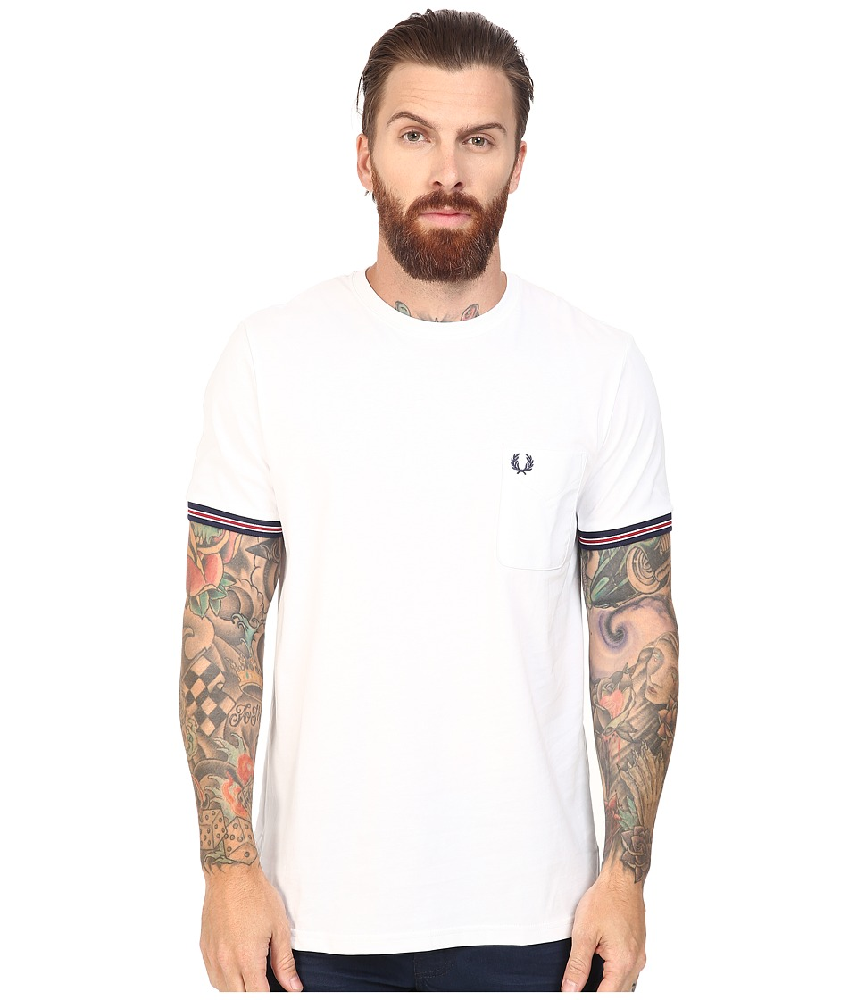 Fred Perry - Bomber Stripe Cuff T-Shirt (White) Men's T Shirt