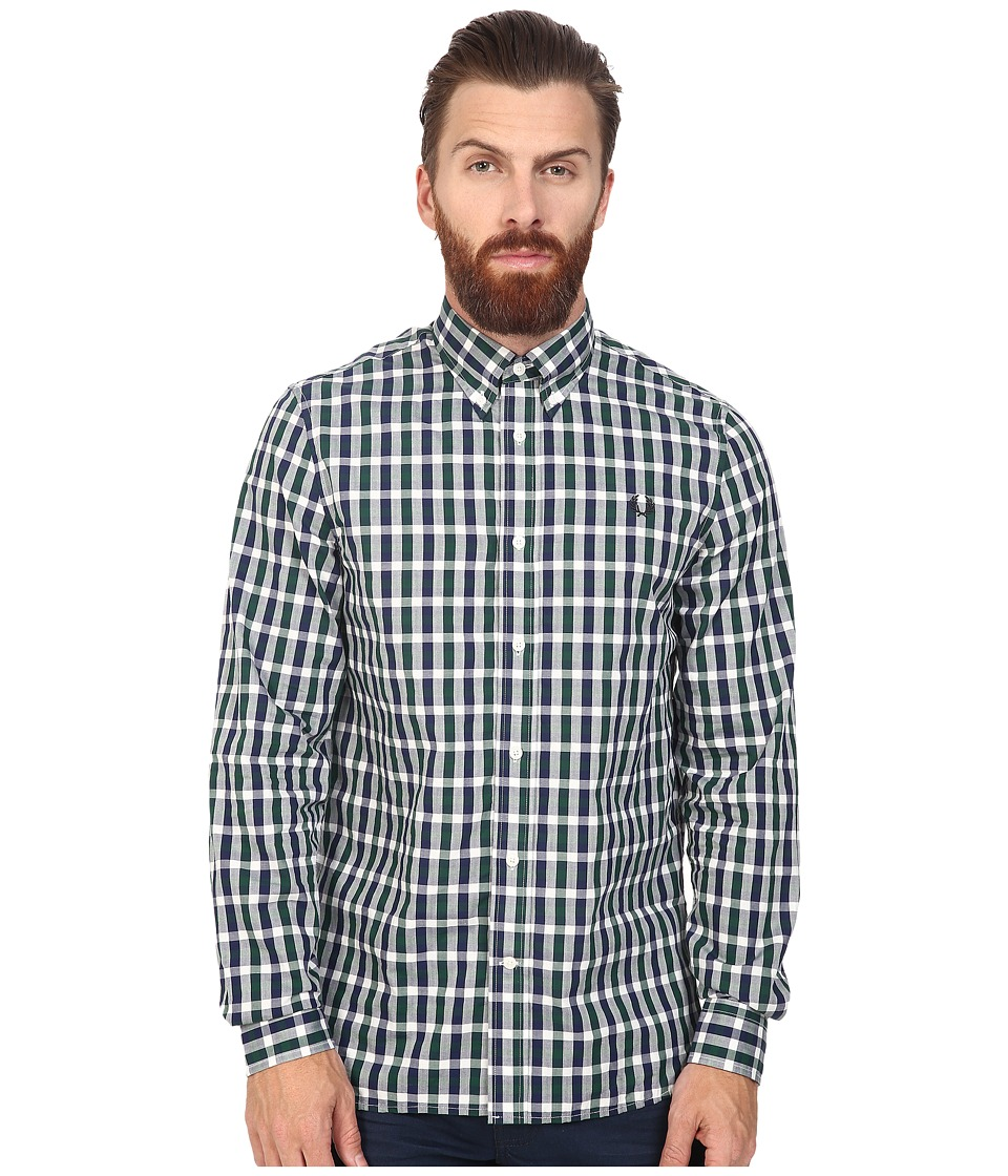 Fred Perry - Three Colour Gingham Shirt (Ivy) Men's Long Sleeve Button Up