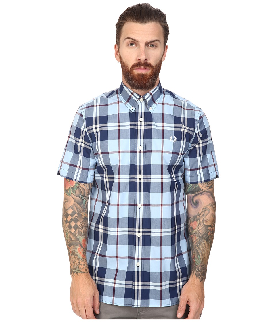 Fred Perry - Bold Check Shirt (Glacier) Men's Short Sleeve Button Up