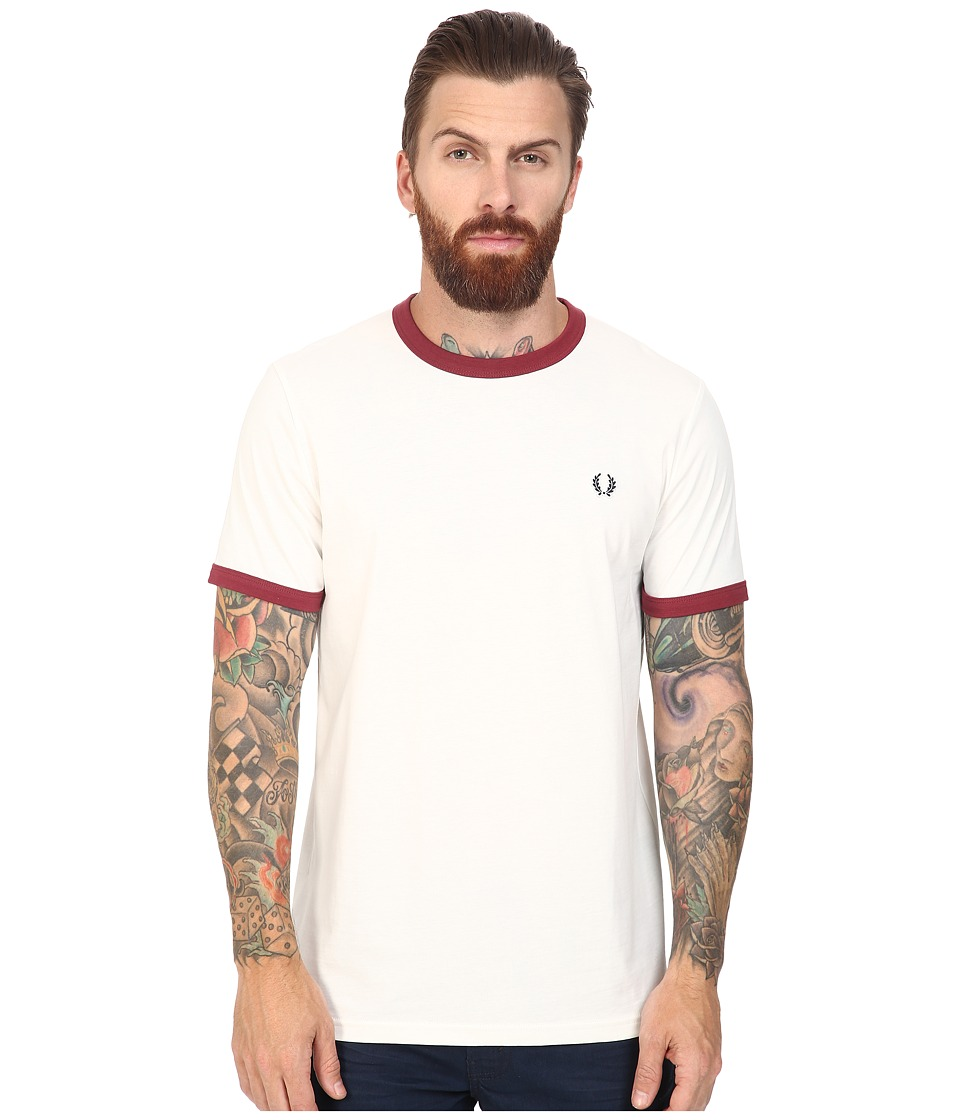 Fred Perry - Ringer T-Shirt (Snow White/Maroon) Men's T Shirt