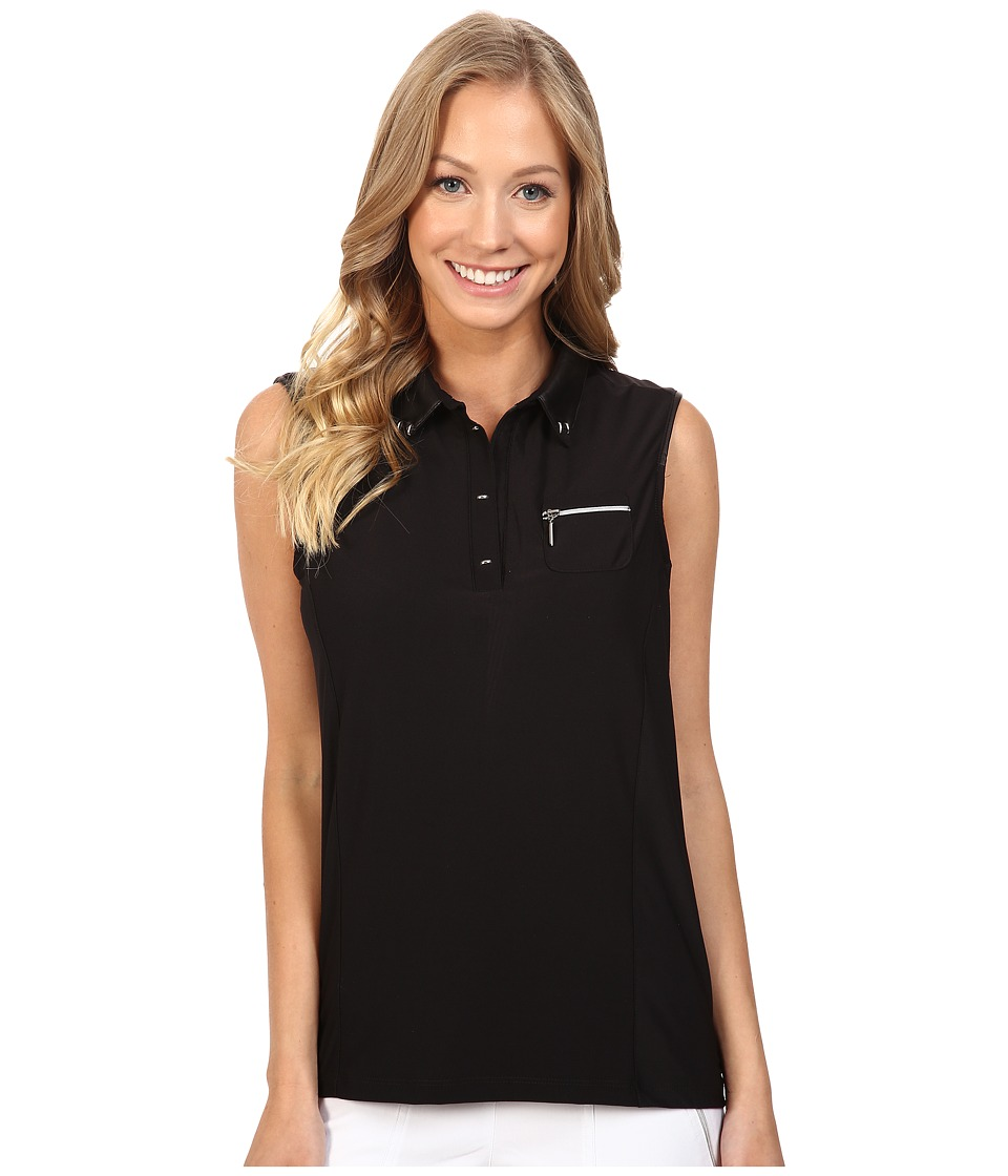 Jamie Sadock - Solid Sleeveless Top with Inverted Pleating in Back (Black) Women's Sleeveless