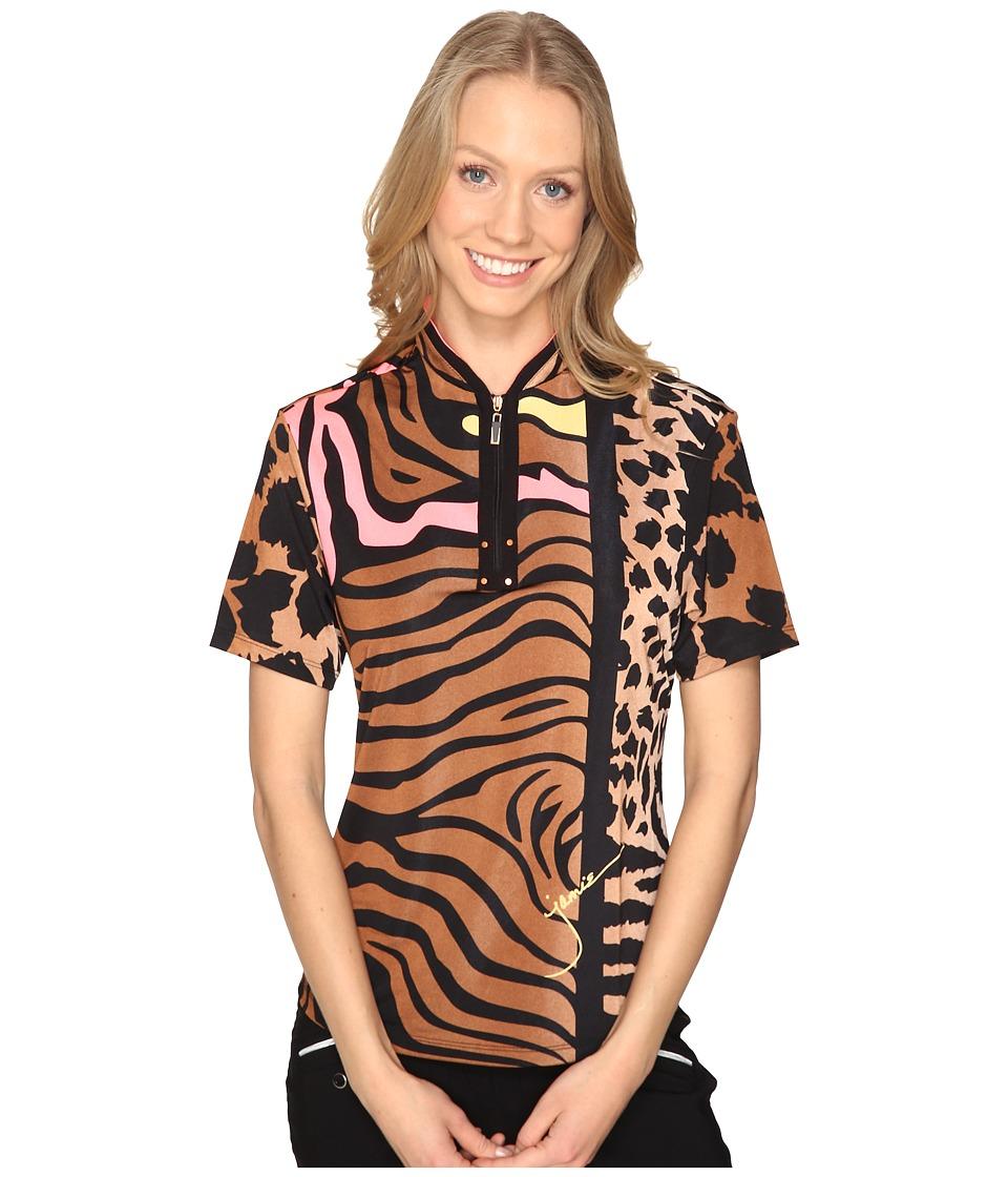 Jamie Sadock - Animal Print Short Sleeve Top (Chestnut) Women's Clothing