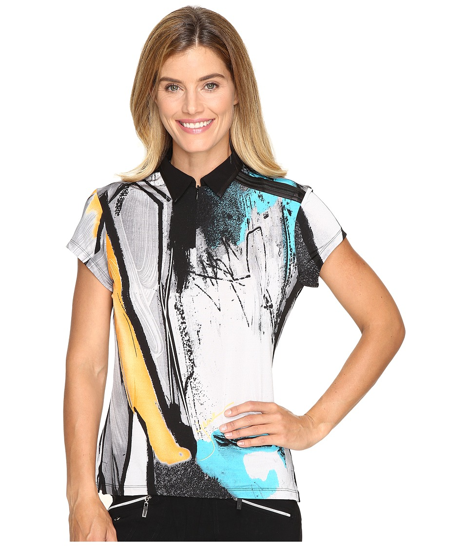 Jamie Sadock - Japan Print Short Sleeve Top (Platinum) Women's Clothing