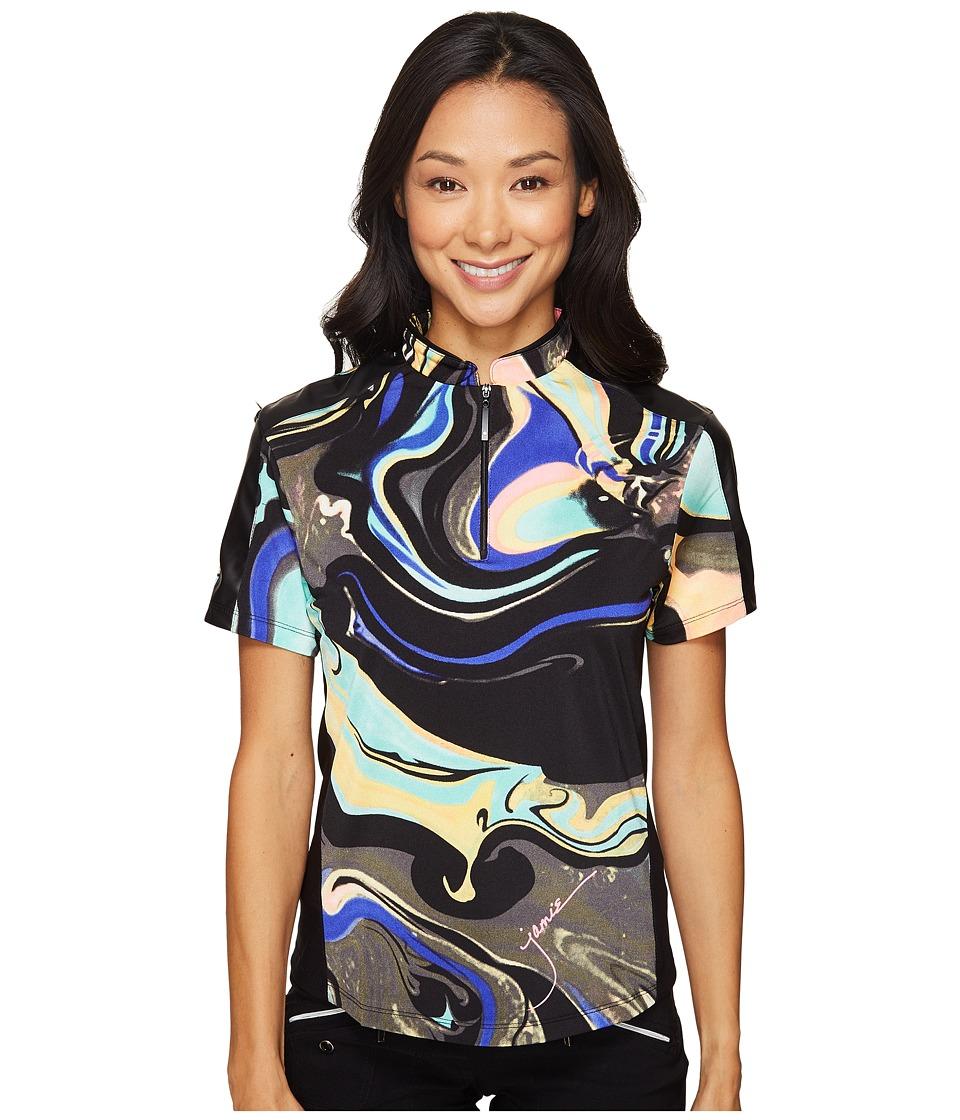 Jamie Sadock - Galaxy Print Short Sleeve Top (Licorice) Women's Clothing