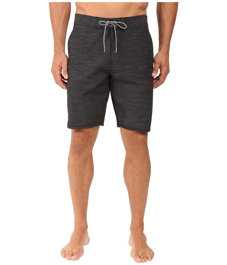 VISSLA - Fin Box 4-Way Stretch Heathered Boardshorts 20 (Black) Men's Swimwear