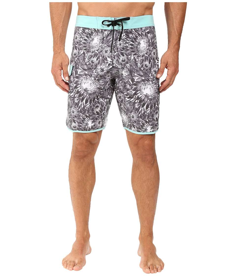 VISSLA - Los Flores Washed 4-Way Stretch Boardshorts 20 (Black) Men's Swimwear