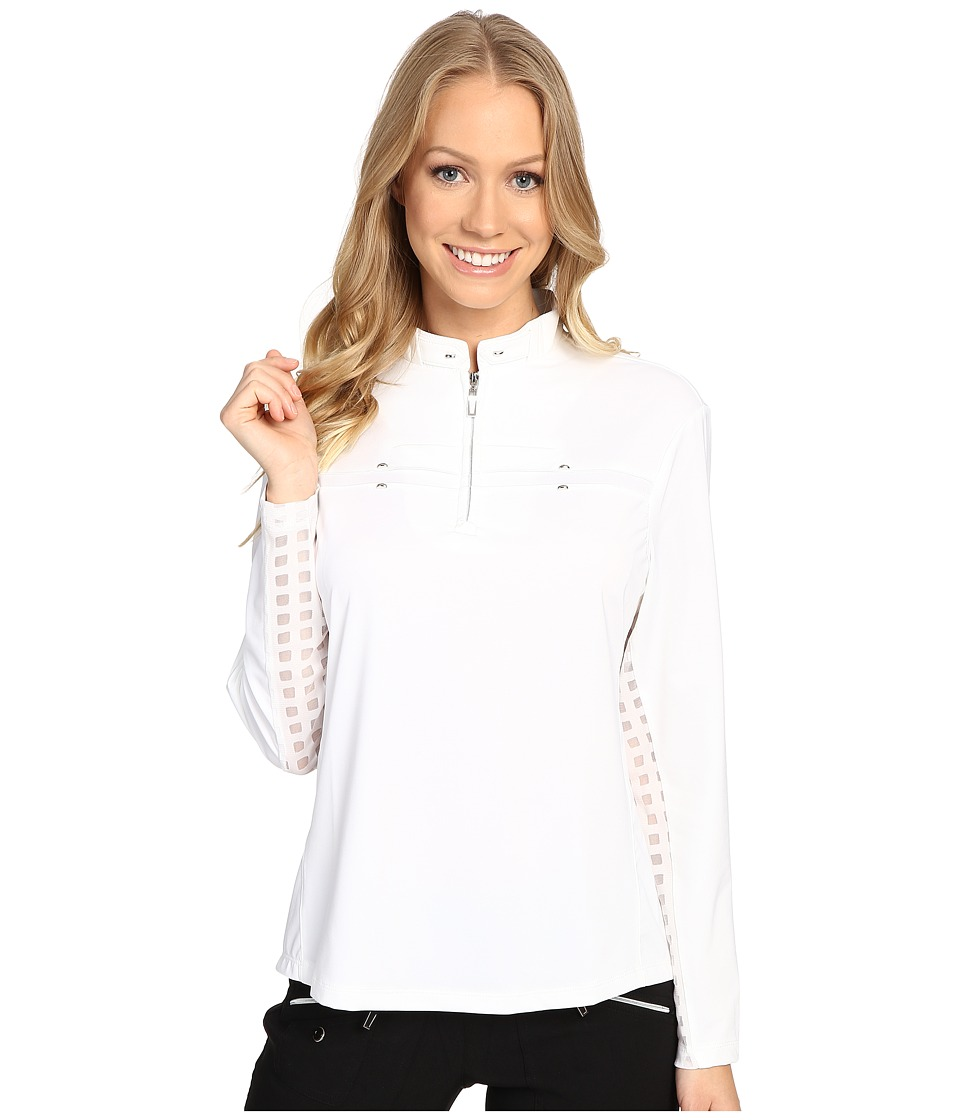 Jamie Sadock - Long Sleeve Sunshirt with Square Print Mesh Panel Underarm (Sugar White) Women's Clothing